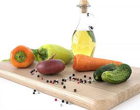 Kitchen decore set vegetables interior 3D model