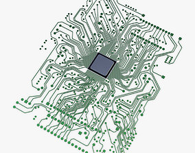 3D model Electronic circuit board v 1