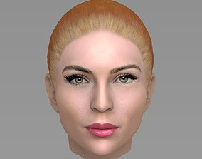 3D Beautiful redhead woman head TYPE 6