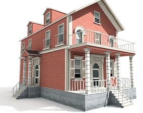 3D model game-ready Residential house 01