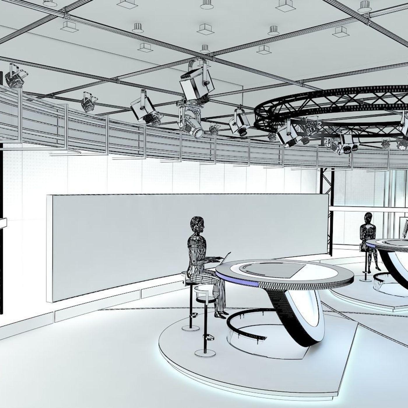 3D Virtual TV Studio News Set 3