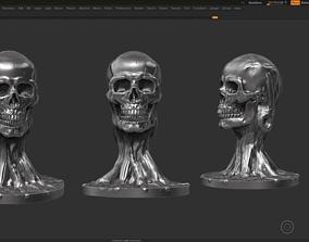 skull head modern sculpture 3d print model 70