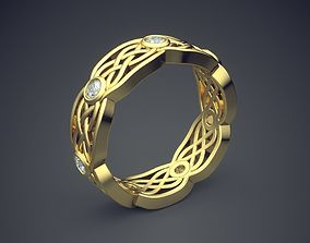 3D printable model Golden Braided Lines Ring With Diamonds