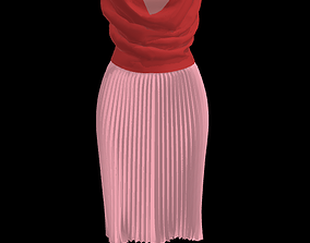 3D Pleated Accordian Skirt and Cowl Top Combo for Female