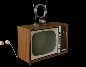 Old TV Set and Antenna 3D model