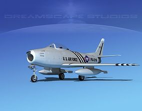 North American F-86 Sabre Jet V03 USAF 3D model