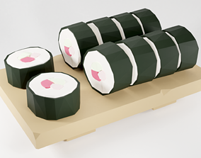 3D model game-ready Sushi Low Poly