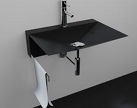 3D model Sink bathroom black