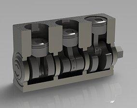 3D printable model Three-Cylinder Engine
