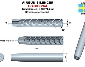 3D print model Airgun silencer traditional caliber 22