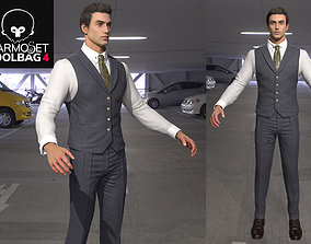 3D model realtime Man s working Suit Game Assets