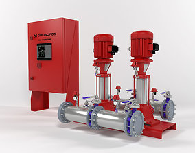 Fire protect pump station Grundfos Hydro MX1 2CR10-3 3D