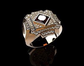 3D printable model 18K Yellow Gold Diamond Rings for Men