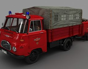 3D model ROBUR LO 1800 Fire Truck w Trailer