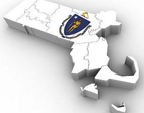3D model Massachusetts Political Map