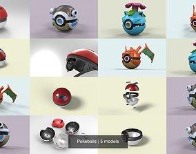 3D model Pokeballs