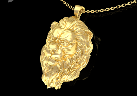 Lion Head Pendant Jewelry Gold 3D print model
