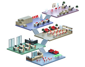 3D model Isometric low-poly office interior floor plan