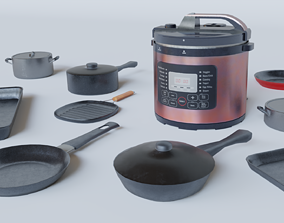 Cookware Set - Low Poly 3D model