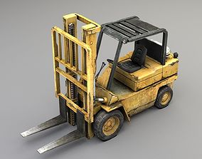 Forklift truck Low-poly 3D model rigged