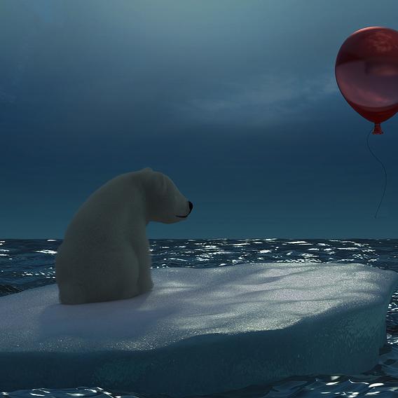 Белый медведь с красным шаром