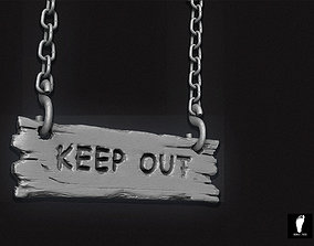 3D model Keep Out Wooden Sign