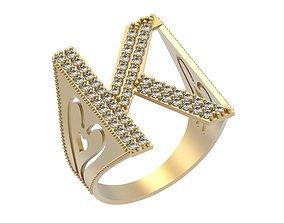 Letter K Ring 3D print model