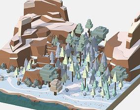 3D asset Isometric style winter big mountain landscape