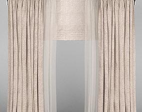 3D model Beige linen curtains with roman blinds