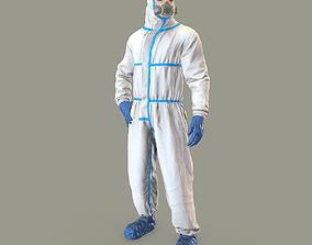 3D model VR / AR ready Hazmat suit rigged