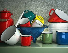 3D Set enameled cookware