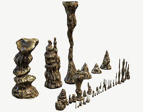 Stalagmites Set 3D model low-poly