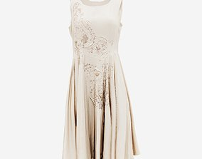 Pearl Decorated Beige Dress 3D asset realtime