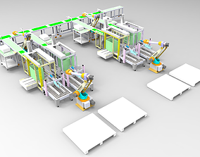 Automatic packaging line-packing stacking equipment 3D