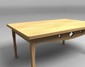 wooden table 3D model low-poly