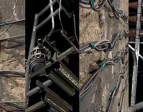 Wires and electric pole 3D model