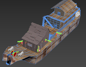 3D model Old Pirate Ship with cannons