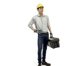 Man with Yellow Helmet Holding Toolbox 3D model