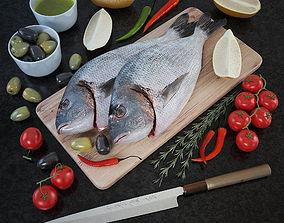 3D Fresh fish - Set of decor for the kitchen