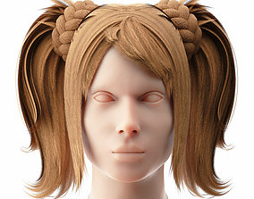 Female Hairstyle Low Poly 1 3D model low-poly