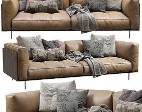 Living Divani Leather Sofa Rodwood 3D model