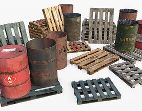 Wooden Pallet and Metallic Barrels 3D