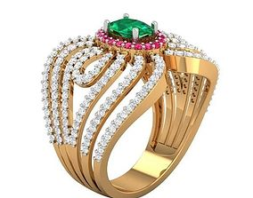 3D print model Cocktail Ring For Ladies gold