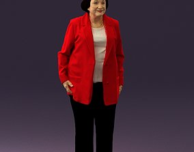 3D model Old woman in red jacket 0449