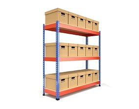 Storage Boxes with Metal Rack 3D