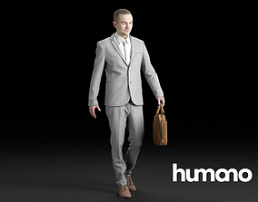 Humano Elegant Business Man Walking with a 3D model 1