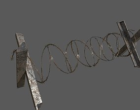Military Barbwire Barricade 3D model