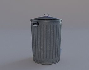 textured Low Poly PBR Trash Can 3D asset game-ready