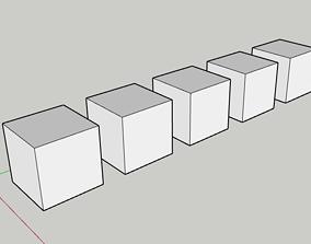 cubes set basic 400x400mm 5 cubes 3D print model