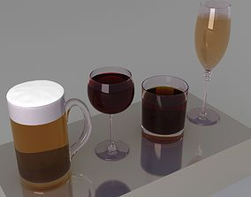 glass and drink collection 3D